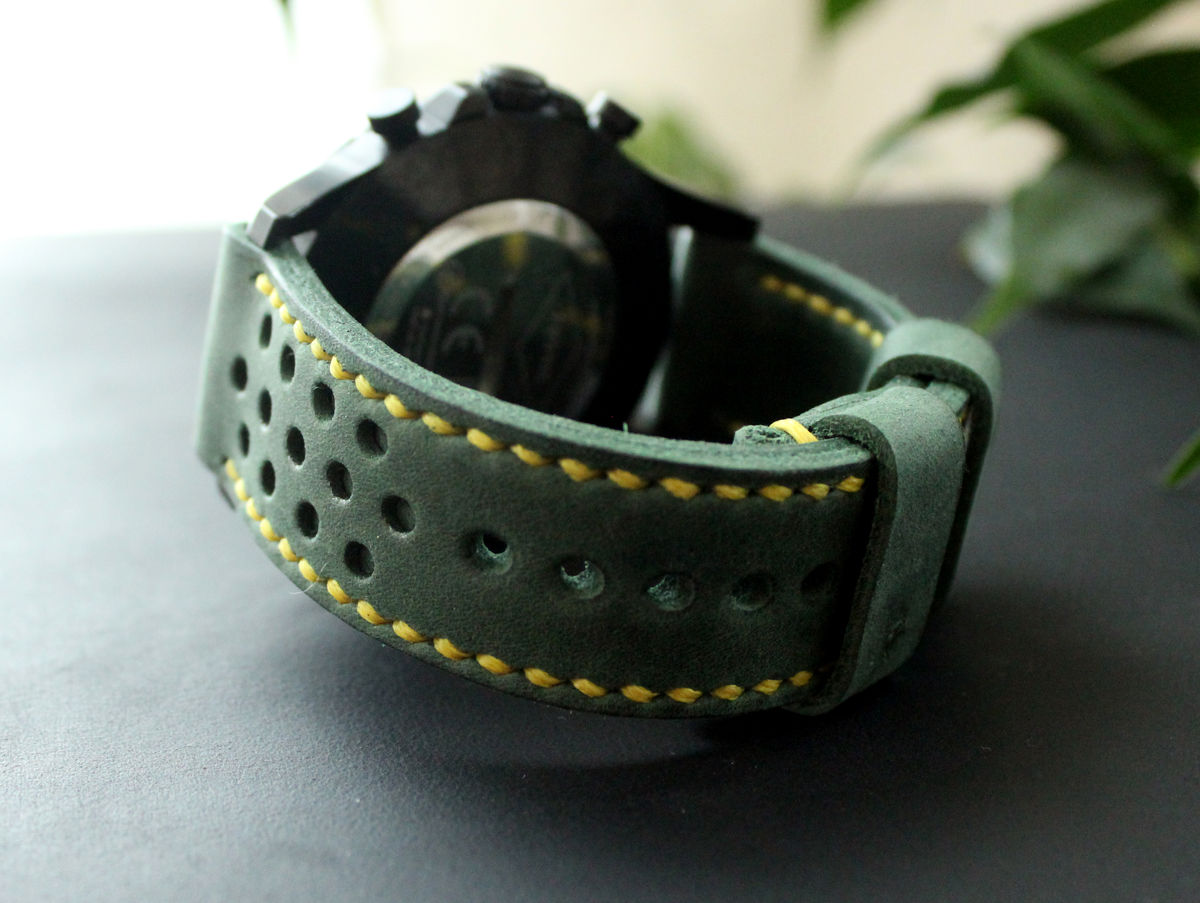 Leather watch strap Green perforated - product images  of