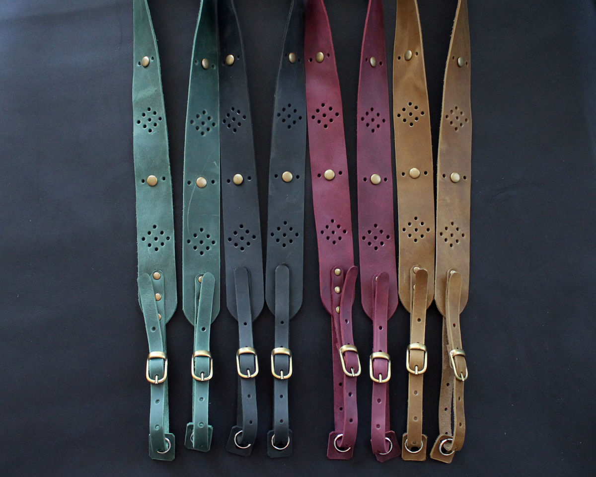 Genuine leather camera strap perforated - product images  of