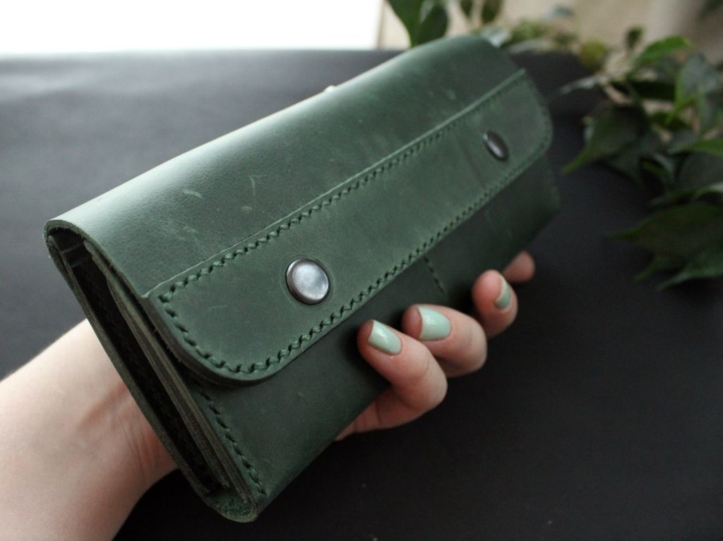 Large leather women's wallet green - product images  of