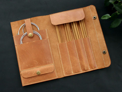 Leather,knitting,needle,organizer,leather knitting needle organizer, knitting needle organizer, needle organizer, leather knitting needle case (organizers), Free personalization, personalized gift