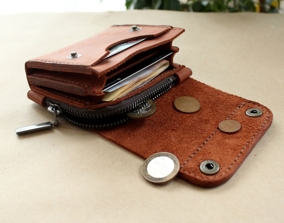 Small leather wallet brick brown - product images  of