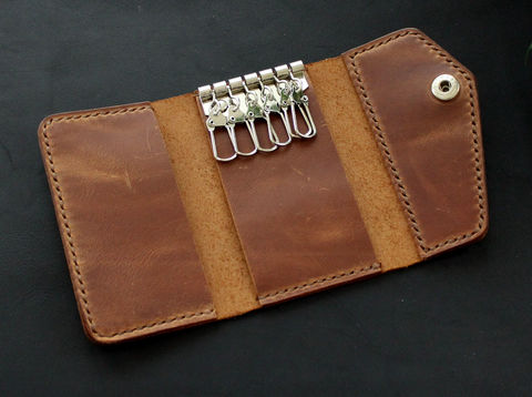 Leather,keychain,wallet,Brown,hooks keychain, leather key wallet, key holder, Free personalization, personalized gift