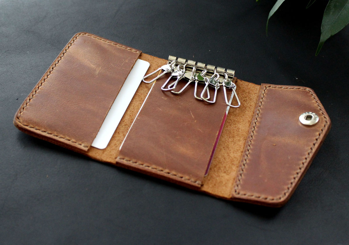 Leather keychain wallet Brown - product images  of