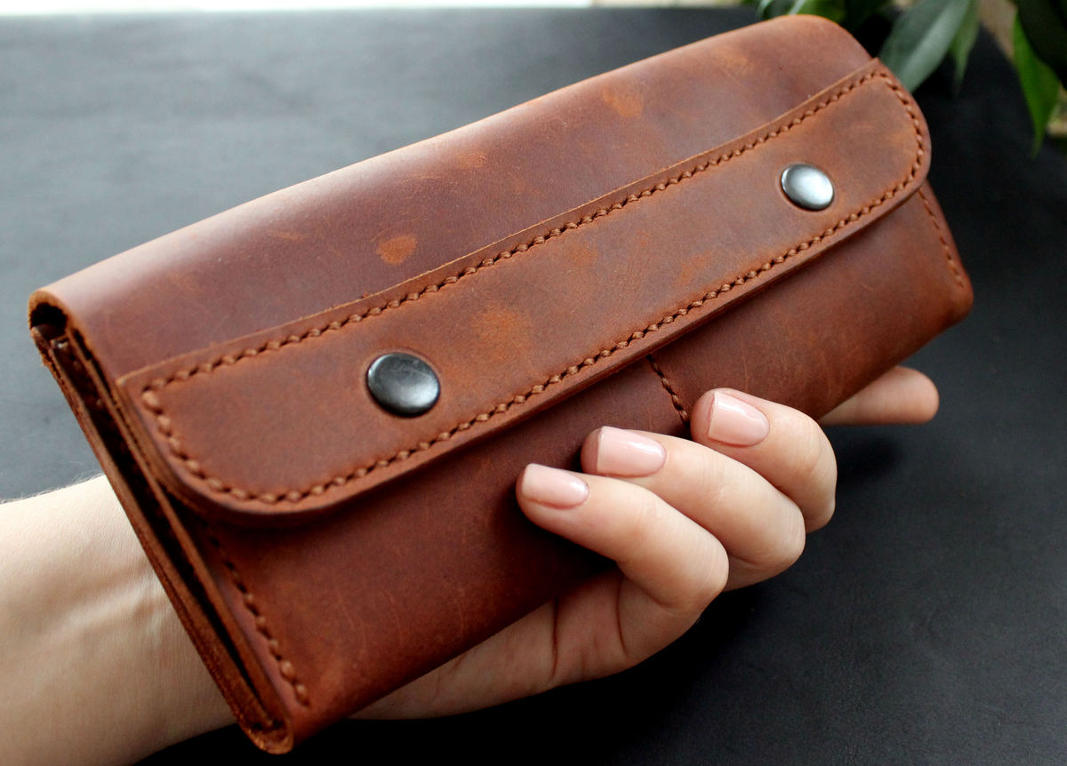 Large leather women's wallet Brick brown - product images  of