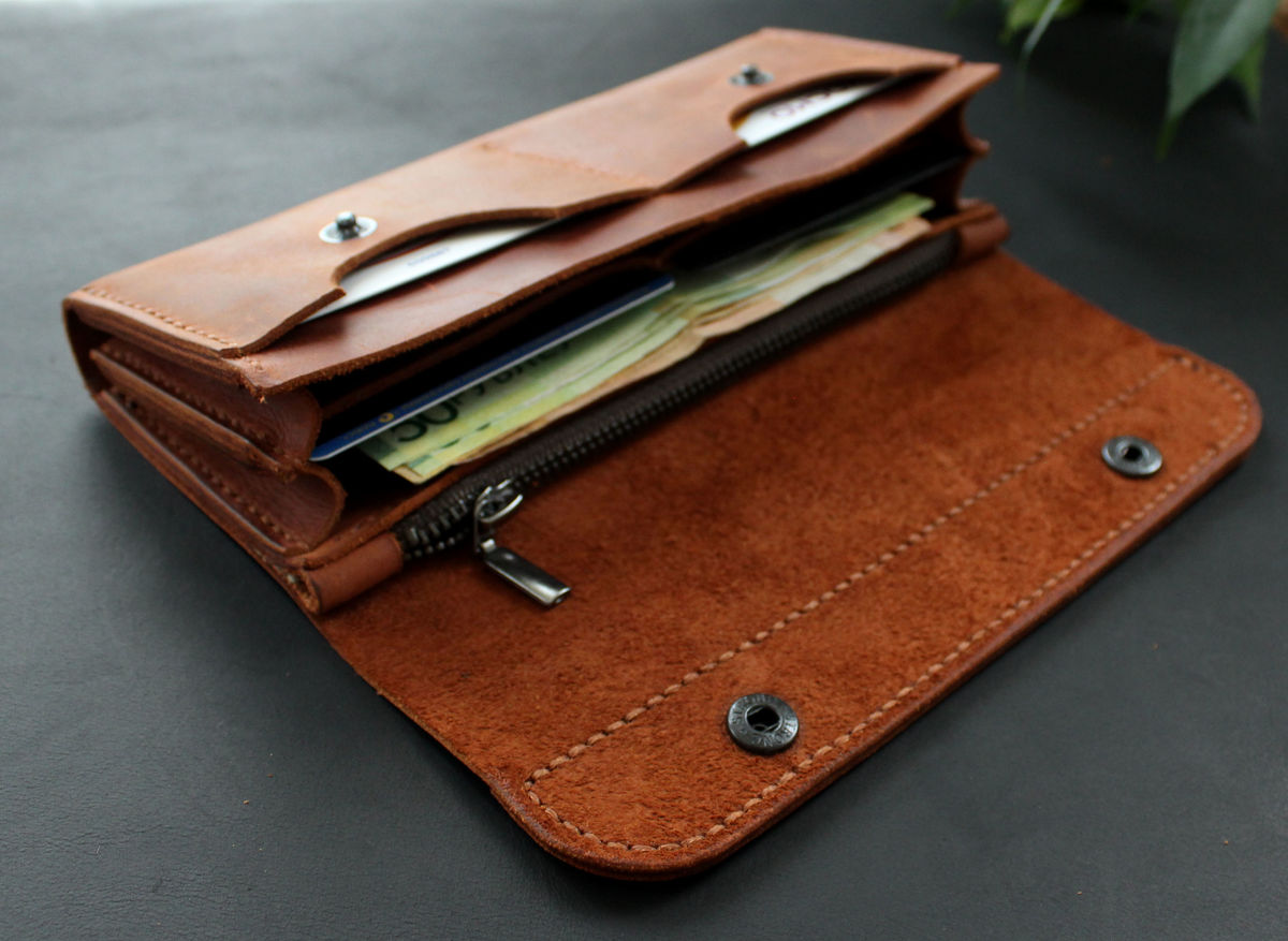 ... Large leather women s wallet Brick brown - product images ... d04ce888a68d