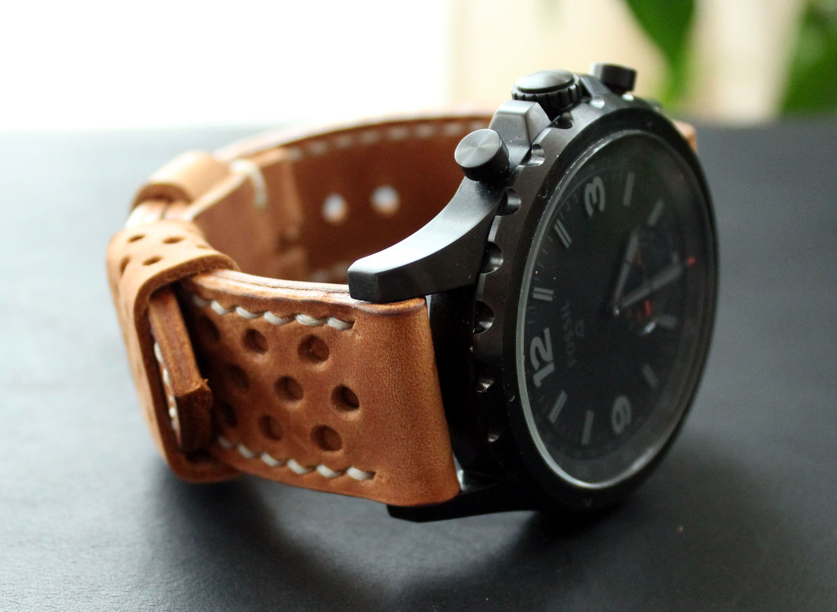 Leather watch strap Light Brown perforated - product images  of