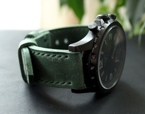 Handmade,Green,leather,watch,band,handmade green leather watch band, green leather watch band, leather watch band, watch band
