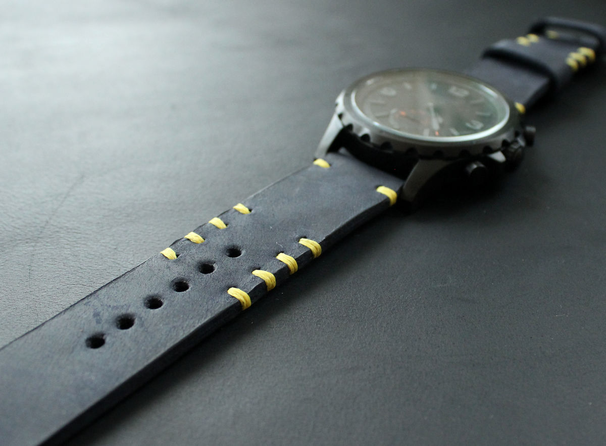 Leather watch strap dark Blue Yellow - product images  of