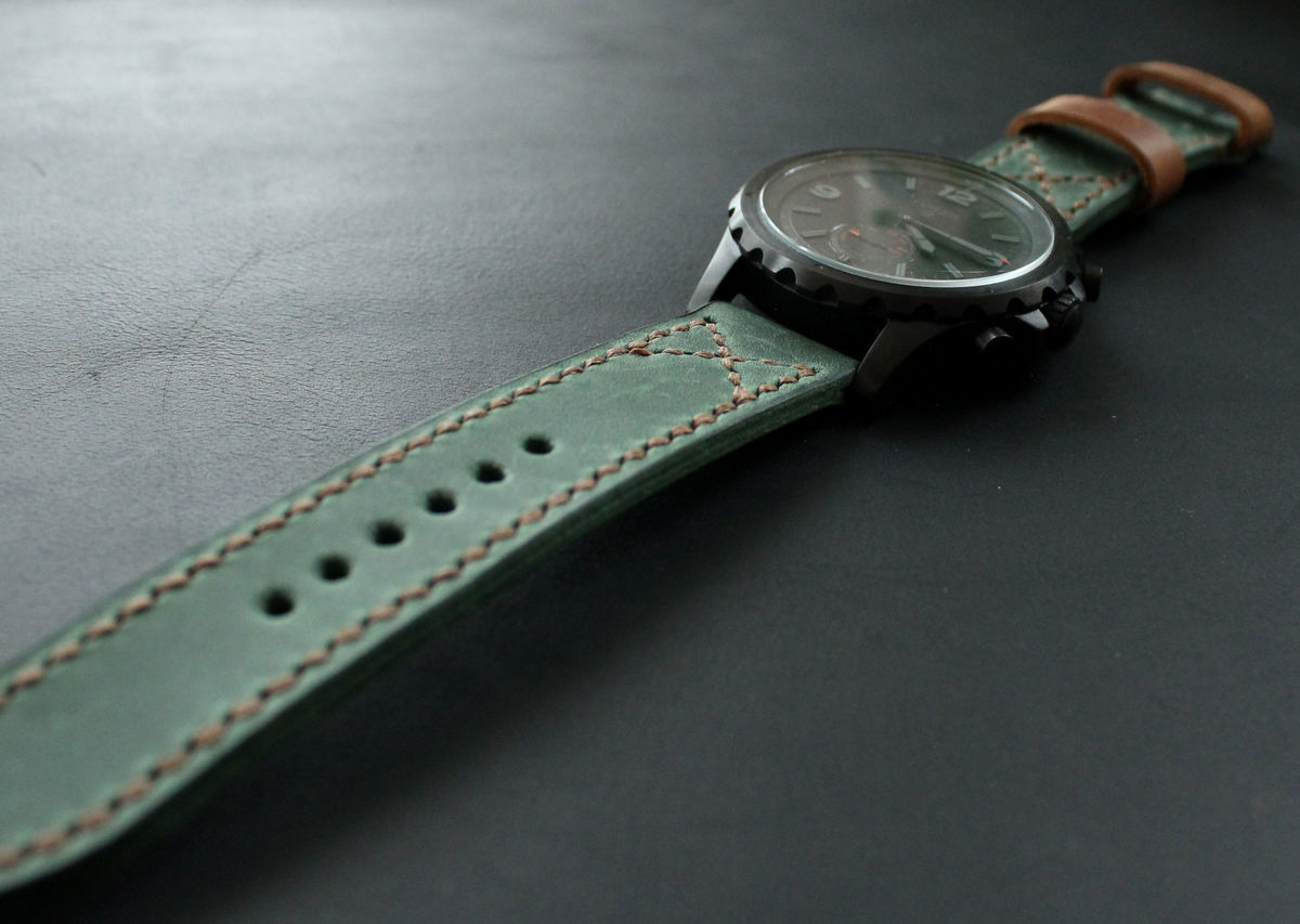 Leather watch band Green Brown - product images  of