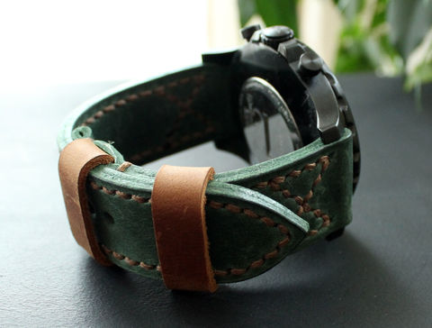 Leather,watch,band,Green,Brown,handmade real leather watch strap, real leather watch strap, leather watch strap, watch strap, leather watch band green