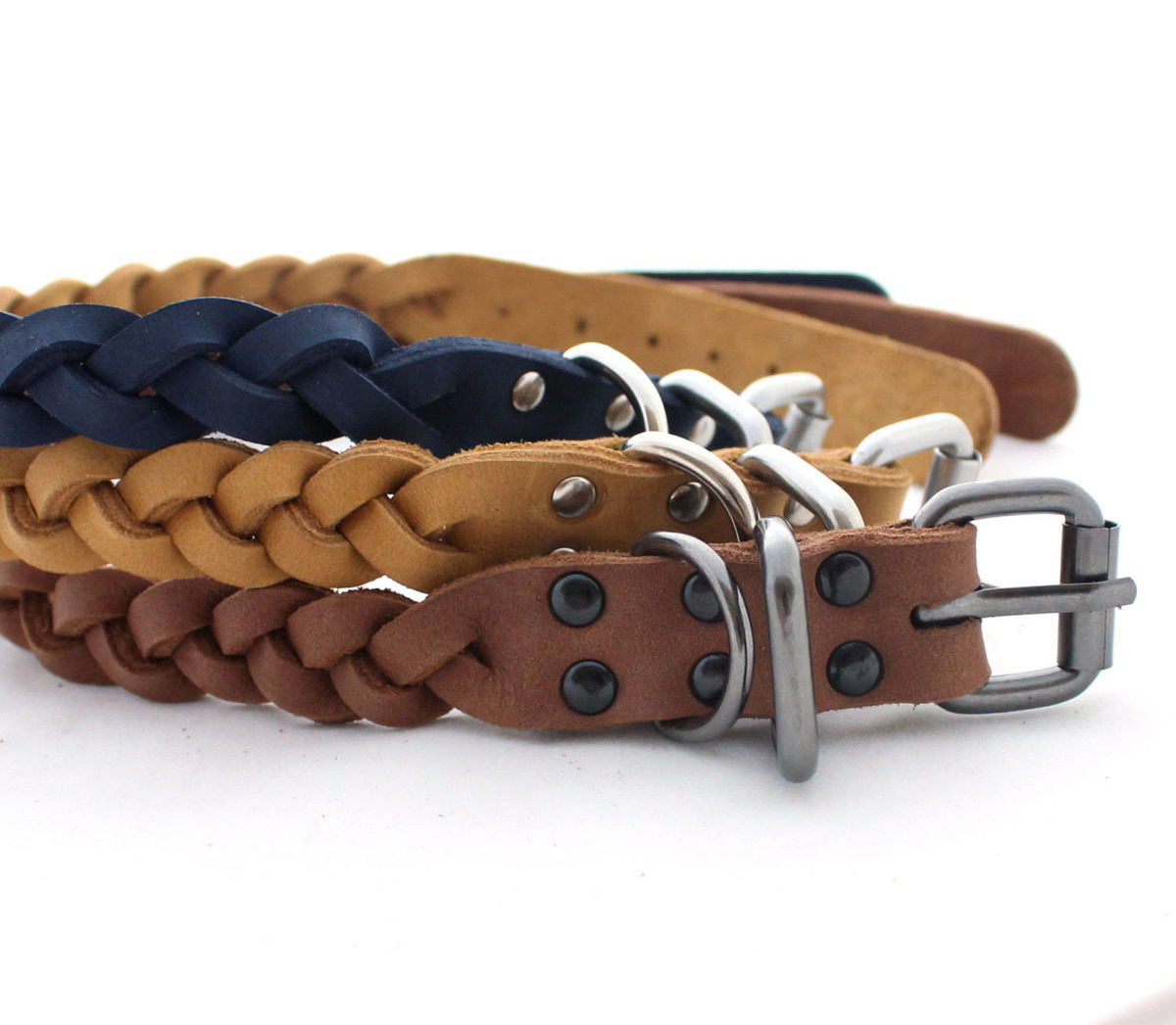 Leather dog braid collar Beige, Brick brown - product images  of