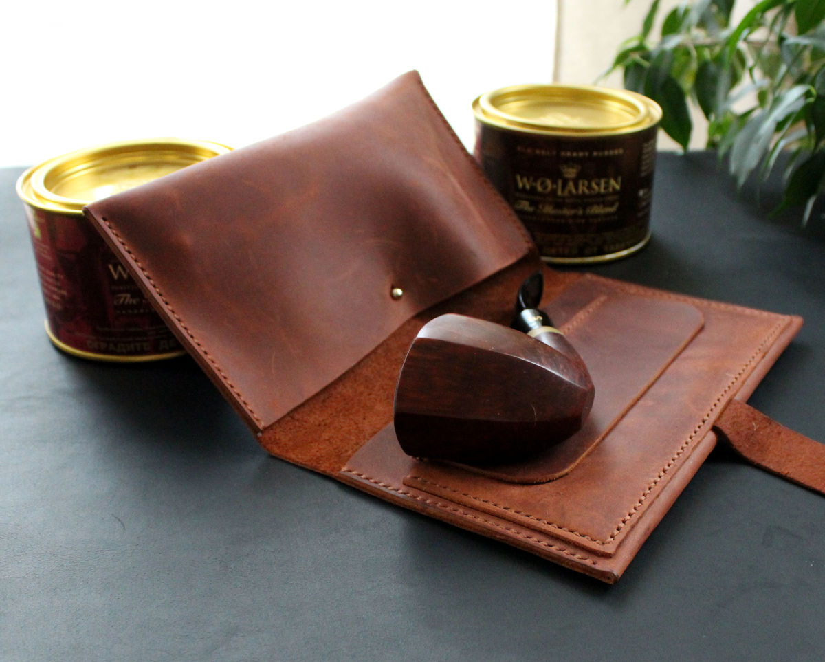 Handmade leather pipe tobacco pouch bag - product images  of