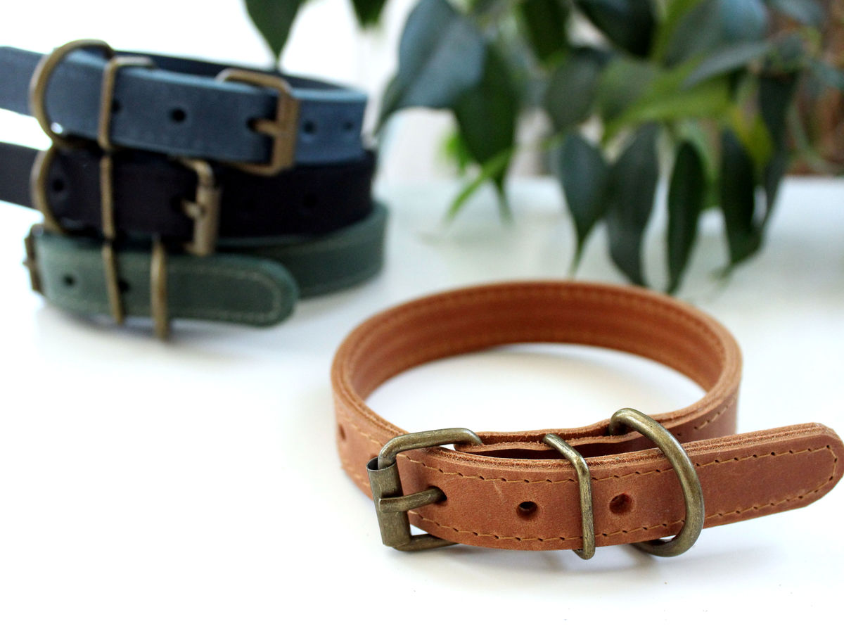 Handmade leather dog collar L - product images  of