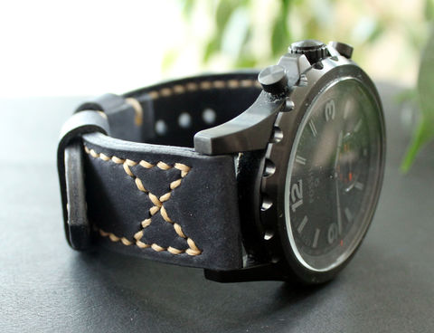 Leather,watch,band,Dark,Blue,handmade real leather watch strap, real leather watch strap, leather watch strap, watch strap, leather watch band blue