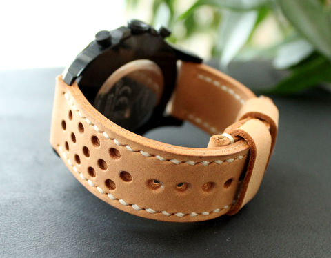 Leather,watch,strap,Beige,perforated,handmade leather wrist watch bands perforated, eather wrist watch bands perforated, watch bands perforated, leather watch band perforated