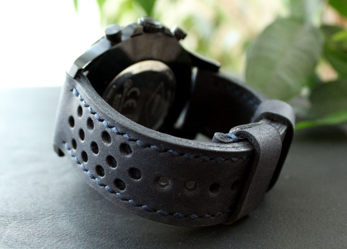 Leather watch strap Dark Blue perforated - product images  of