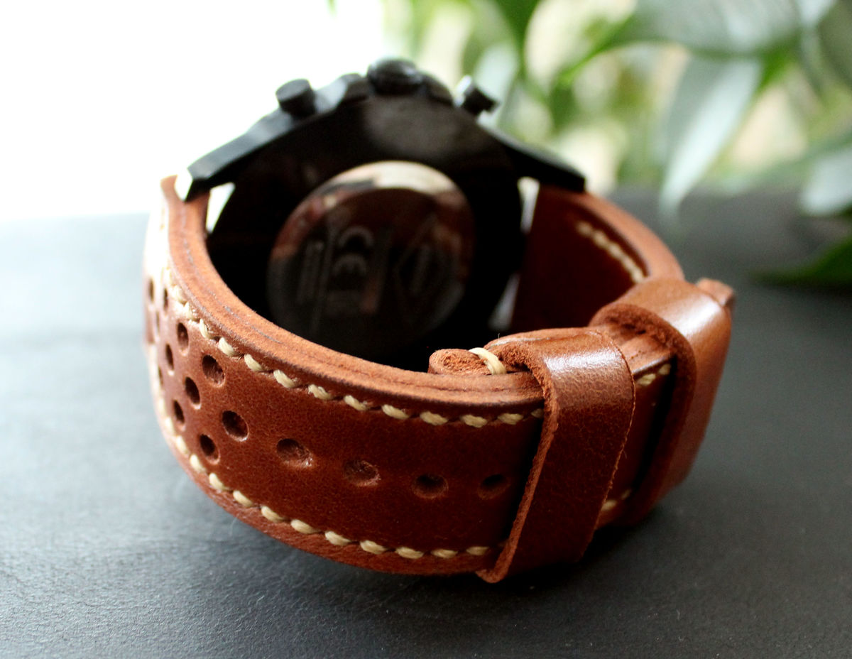 Leather watch strap Cognac Brown perforated - product images  of