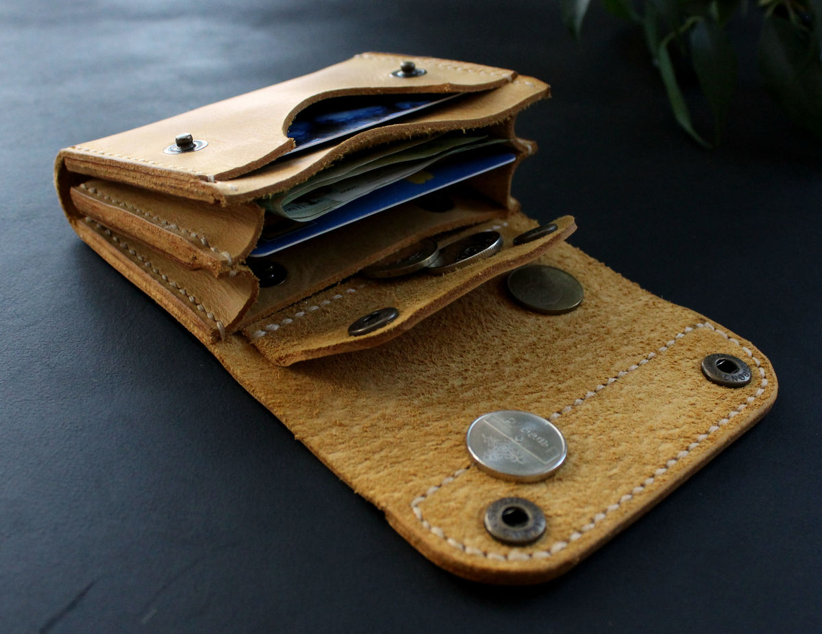 Small leather wallet yellow - product images  of