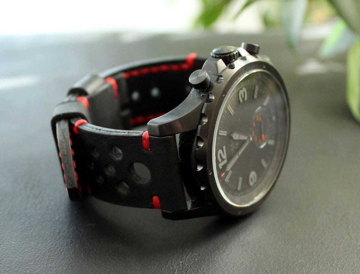 Leather watch strap Black Red perforated - product images  of
