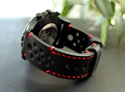 Leather,watch,strap,Black,Red,perforated,Watches leather strap, watch strap, Leather	Watch Band, vintage, leather watch strap, gift for him, Seiko watches, panerai watches, fathers day gift, rally strap, perforated strap