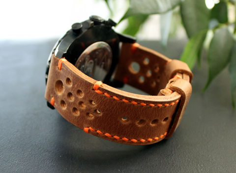 Leather,watch,strap,Brown,perforated,watches,	leather strap, watch strap, leather watch vand, vintage, leather watch strap, gift for him, seiko watches, panerai watches, fathers day gift, rally strap, perforated strap
