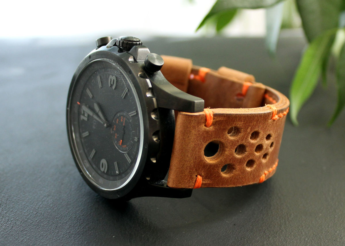 Leather watch strap Brown perforated - product images  of
