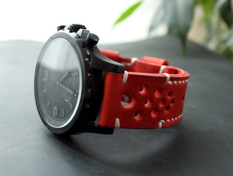 Leather,watch,strap,Red,handmade mens leather watch band, mens leather watch bandsis, leather watch bandsis, leather watch band perforated