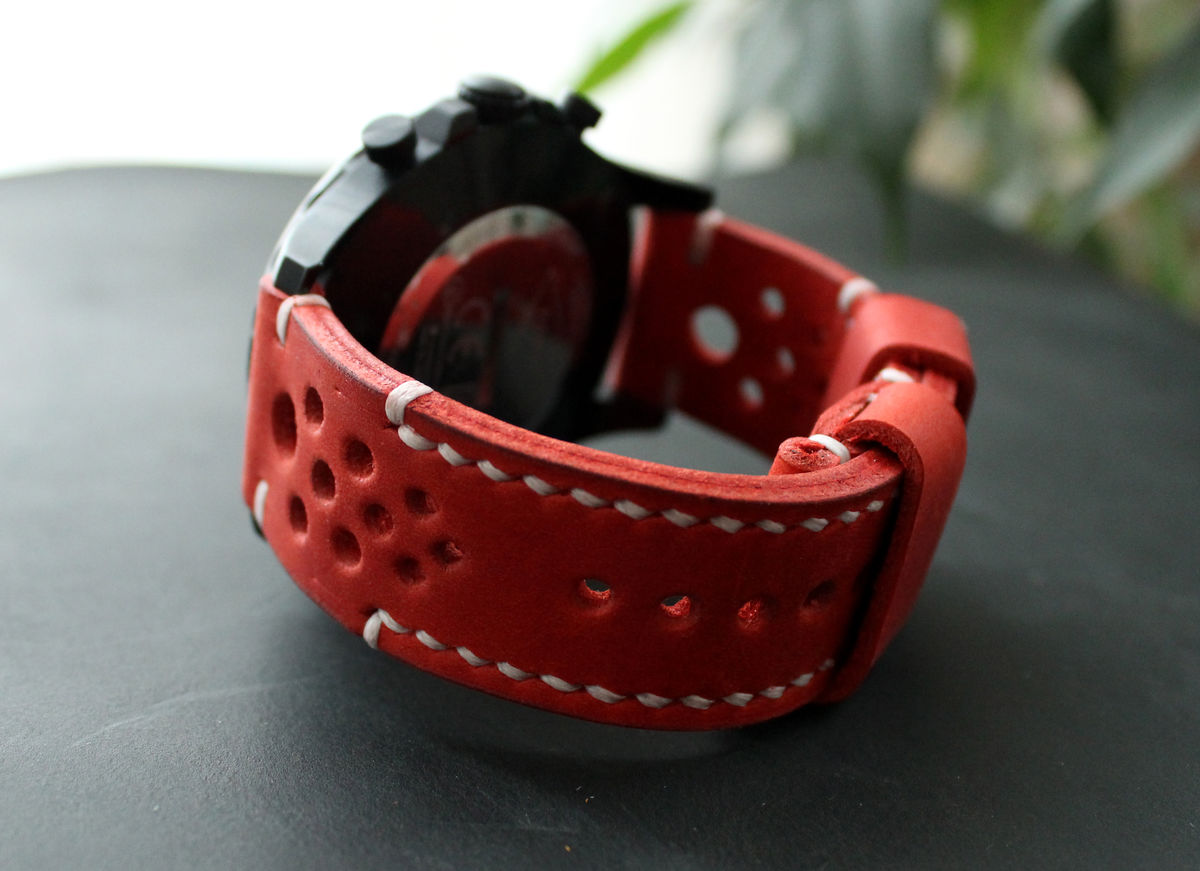 Leather watch strap Red - product images  of