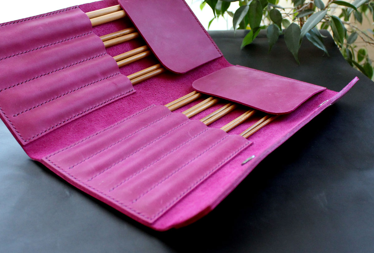 Leather knitting straigth needles organizer - product images  of