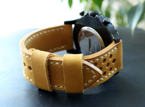 Leather,watch,strap,Yellow,perforated,handmade leather wrist watch bands perforated, eather wrist watch bands perforated, watch bands perforated, leather watch band perforated