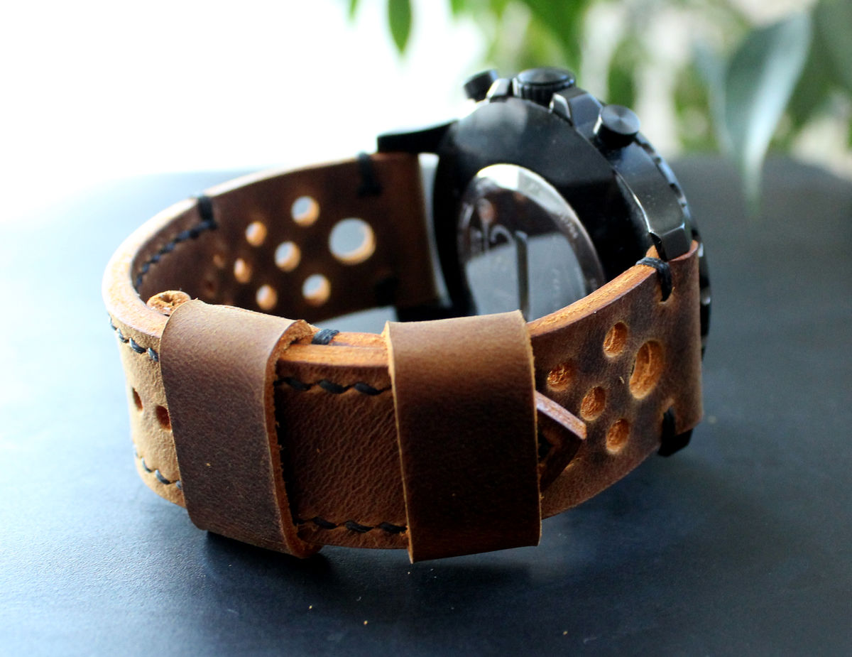 Leather watch strap Rust Black perforated - product images  of