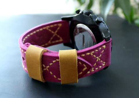 Leather,watch,band,Fuchsia,Pink,Yellow,handmade real leather watch strap, real leather watch strap, leather watch strap, watch strap, leather watch band green
