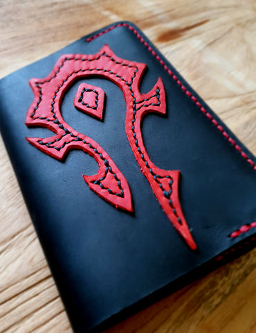 Leather,passport,holder,-,For,the,Horde,leather passport cover, passport cover, leather passport holder, passport holder, free personalization, personalized gift, horde, for the horde, world of warcraft, horde logo