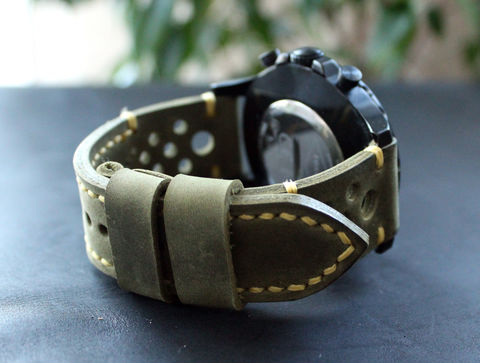 Leather,watch,strap,Moss,green,Yellow,Rally,Watches,	leather strap, watch strap, Leather Watch Band, vintage, leather watch strap, gift for him, Seiko watches, panerai watches, fathers day gift, rally strap, perforated strap