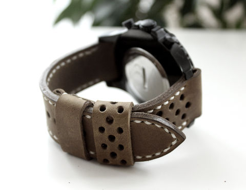 Leather,watch,strap,Olive,perforated,handmade watch strap olive perforated, watch strap olive perforated, watch strap olive, watch strap perforated
