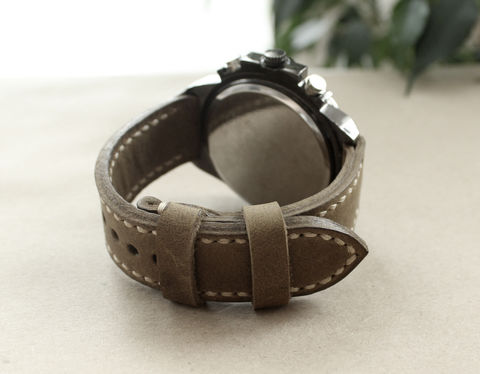 Genuine,leather,watch,strap,Ligth,Olive,handmade leather watch strap perforated olive, watch strap perforated olive, strap perforated olive, genuine leather watch strap ligth olive