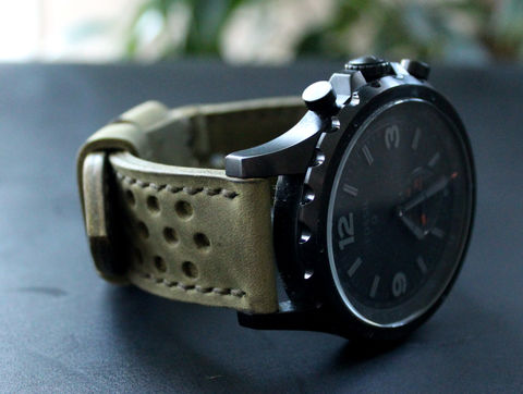 Leather,watch,strap,Moss,green,perforated,handmade leather wrist watch bands perforated, eather wrist watch bands perforated, watch bands perforated, leather watch band perforated