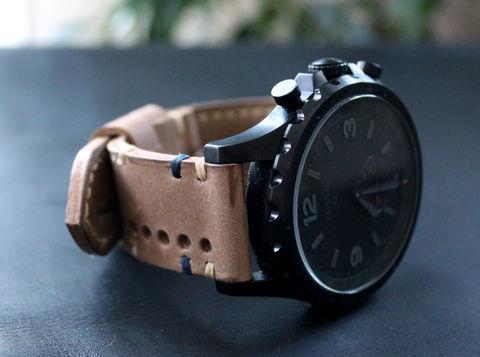 Leather,watch,strap,Sand,perforated,Watches leather strap, watch strap, Leather	Watch Band, vintage, leather watch strap, gift for him, Seiko watches, panerai watches, fathers day gift, rally strap, perforated strap