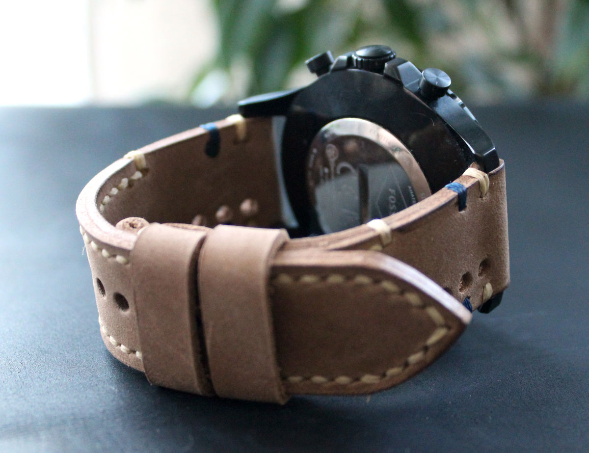 Leather watch strap Sand perforated - product images  of
