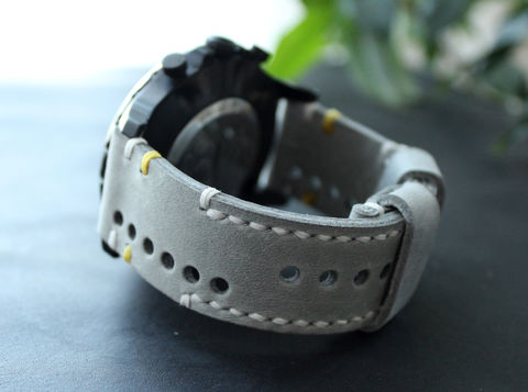 Leather,watch,strap,Gray,perforated,Watches leather strap, watch strap, Leather	Watch Band, vintage, leather watch strap, gift for him, Seiko watches, panerai watches, fathers day gift, rally strap, perforated strap