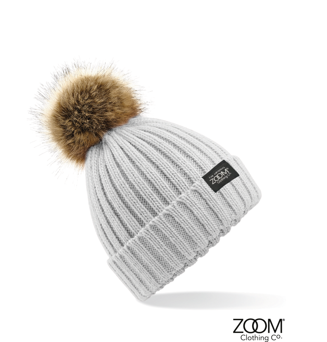 Fur Pom Pom Hat Grey - Zoom Clothing Company 21bee3e199e
