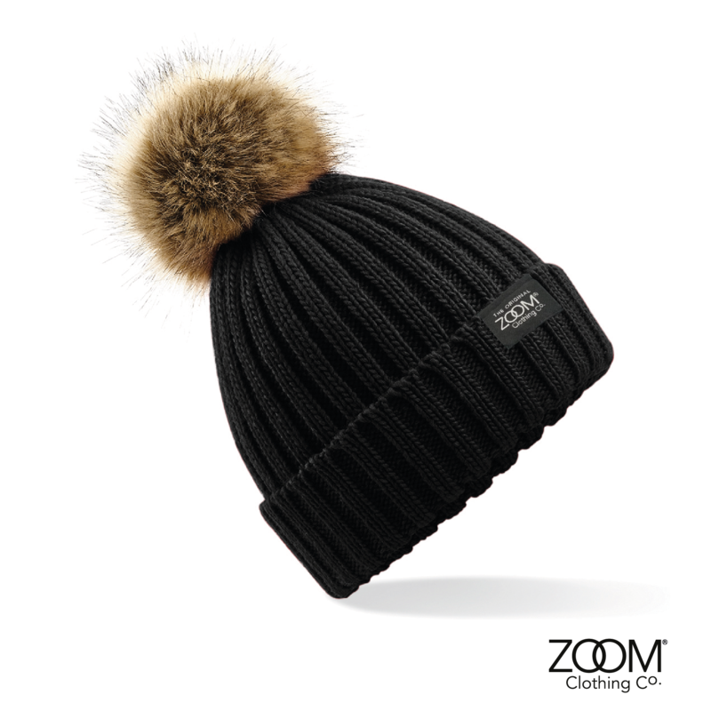 Fur Pom Pom Hat Black - product image