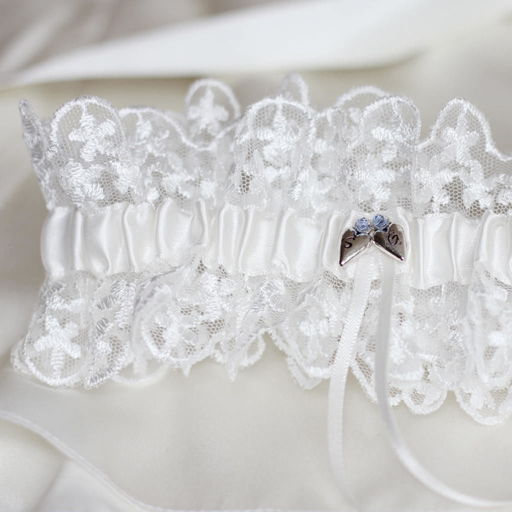 Personalised Something Blue Lace Garter - product images  of