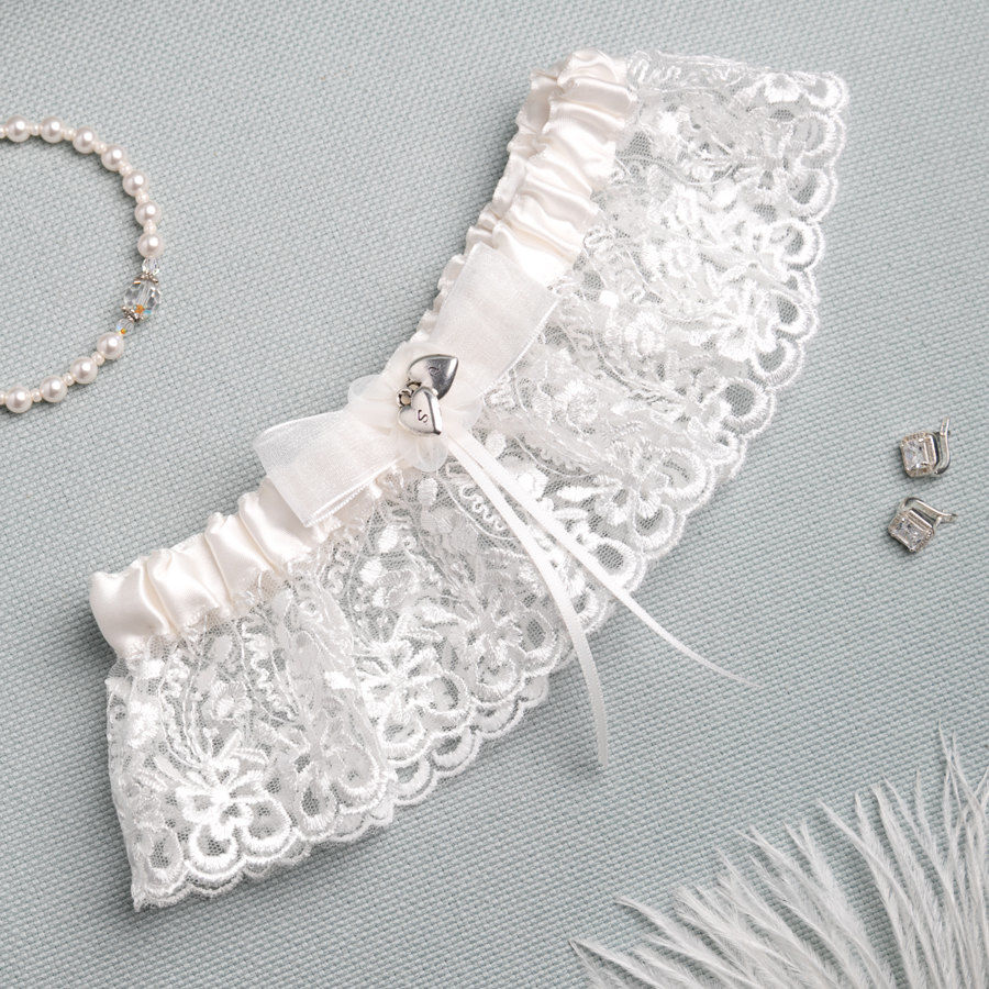 Personalised Lace Bridal Garter - product images  of