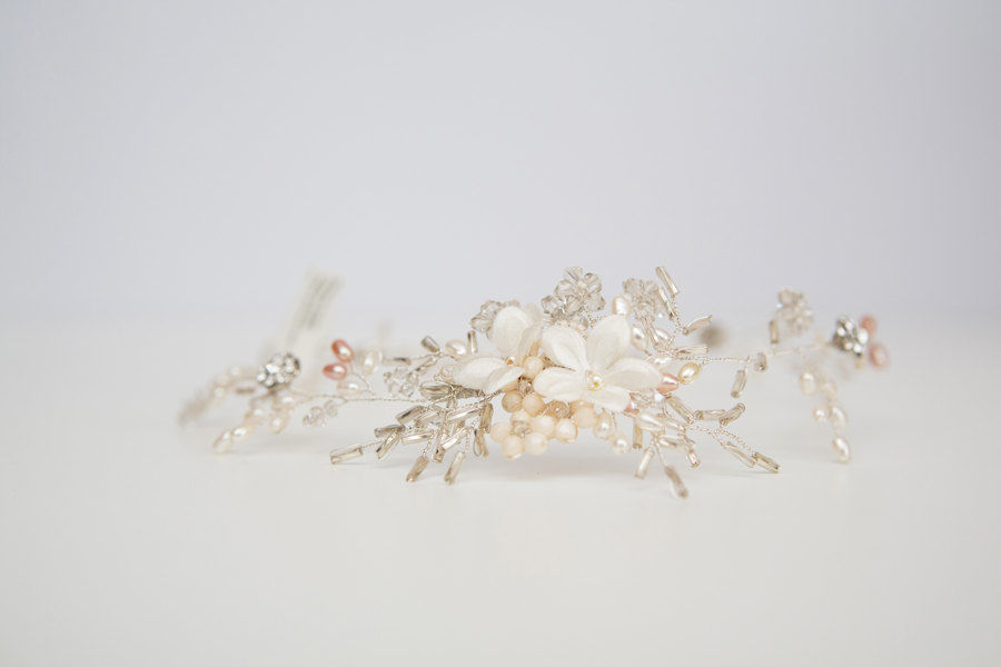 Silver Crystal Floral Hair Vine - product images  of