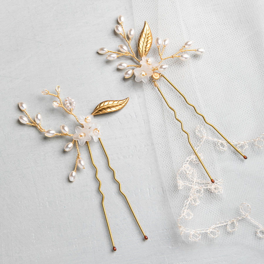 Floral Leaf Hair Pins - product images  of