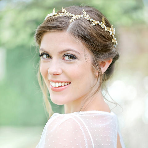 Candra Gold Grecian Hair Vine Weddings Accessories Ivory Beaded
