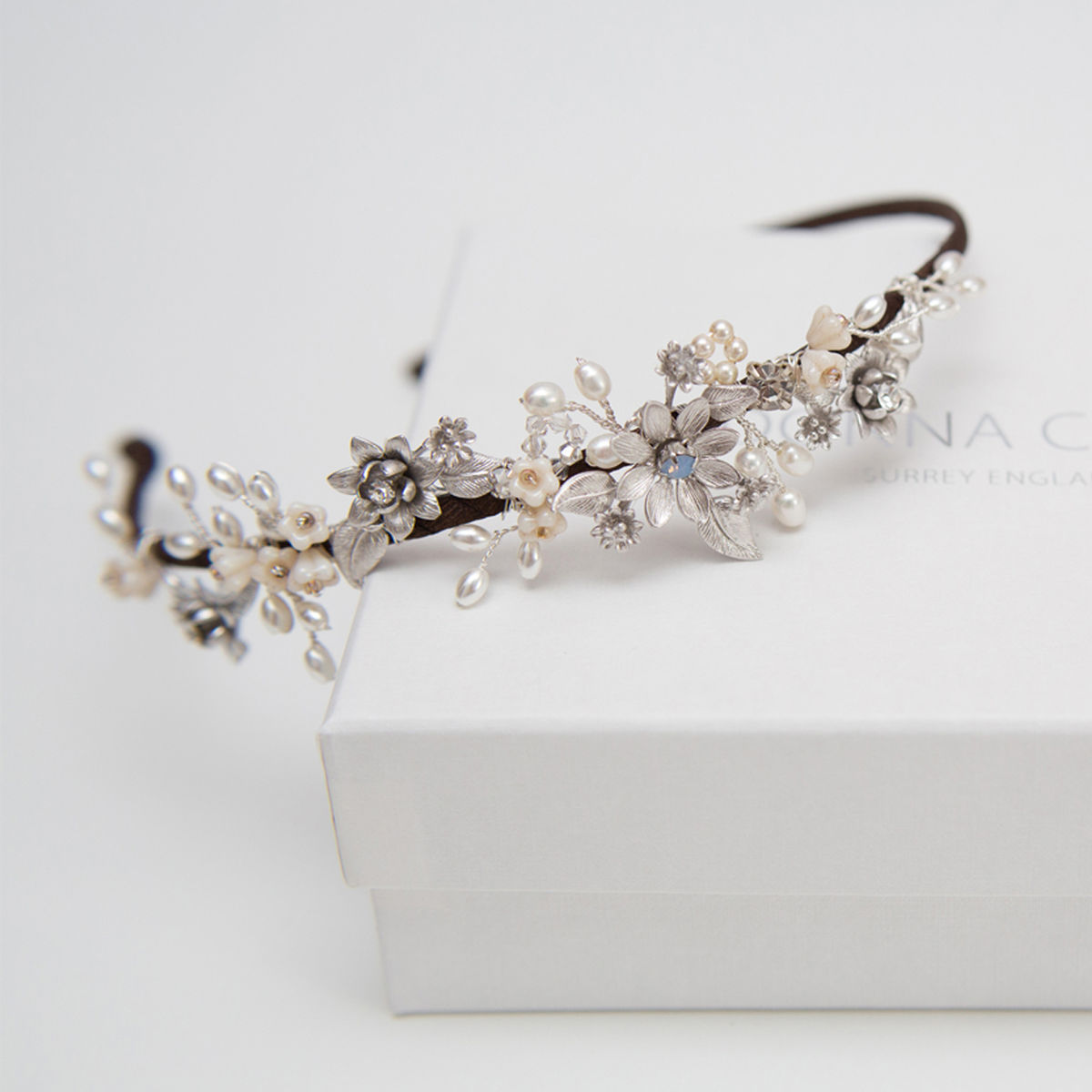 Stella Silver Pearl & Crystal Headdress - product images  of