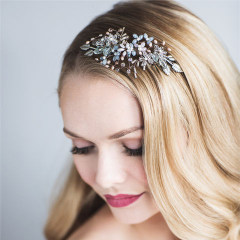 Orchid,Crystal,Headdress,orchid crystal headdress, crystal headdress, bridal headdress, vintage inspired headdress, blue headdress, crystal wedding hairband