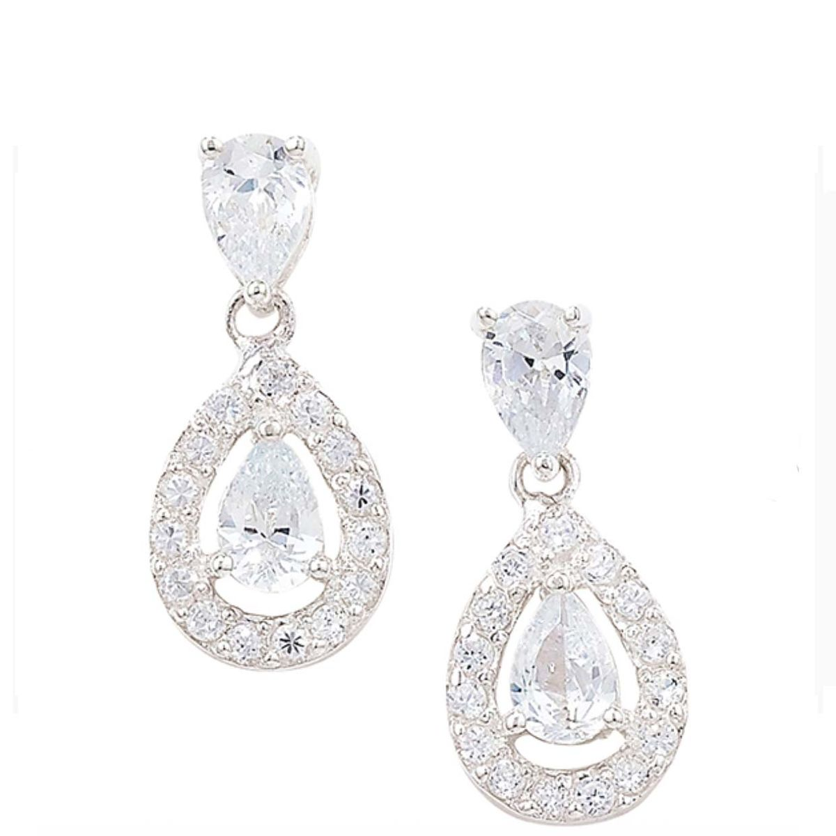 Sterling Silver Crystal Chandelier Earrings - product images  of